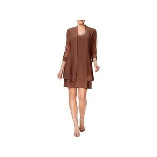 R & M Richards Womens Dress With Jacket Embellished Knee-Length