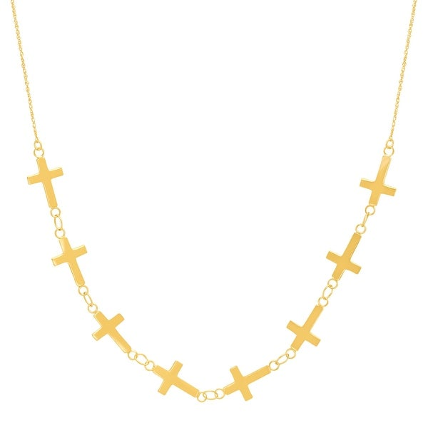 Just Gold Sideways Cross Necklace in 14K Gold
