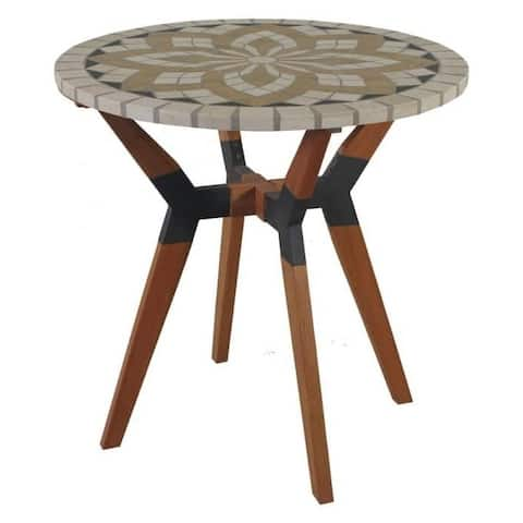 Round 30-inch Bistro Style Outdoor Patio Table with Marble Tile Top - 30 diam. x 30H in.