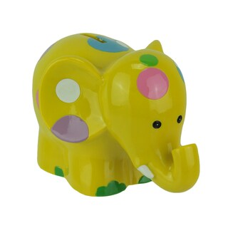 Cute Polka Dot Smiling Elephant Coin Bank