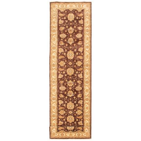 ECARPETGALLERY Hand-knotted Chobi Finest Dark Brown Wool Rug - 3'8 x 19'2