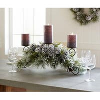 "Pack of 2 Strikingly Elegant Green Frosted Pine Candle Holder 30""L"