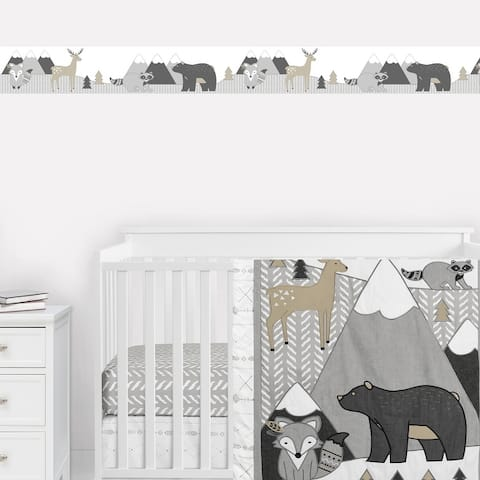 Woodland Animals Collection Wallpaper Wall Border - Beige, Grey and White Boho Mountain Forest Friends Deer Fox Bear Raccoon