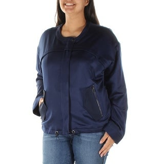 GUESS $128 Womens New 1604 Navy Pocketed Zip Up Casual Jacket L B+B