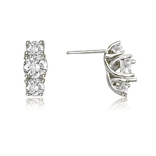 2.00 cttw. 14K White Gold Three-Stone Trellis Round Diamond Earrings - White H-I