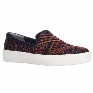Sam Edelman Becker Slip-On Woven Fashion Sneakers - Orange/Navy
