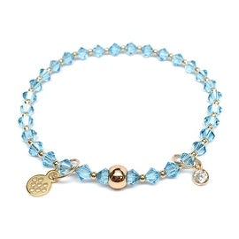 Aquamarine Swarovski Crystal 'Emily' Stretch Bracelet, 14k over Sterling Silver