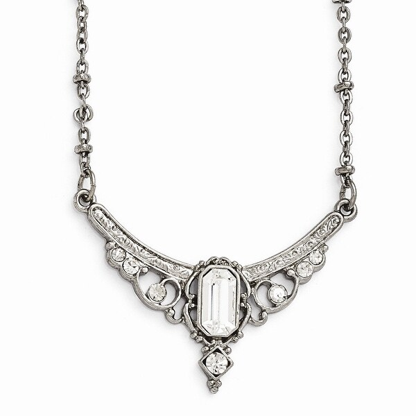 Silvertone Clear Crystal & Glass Necklace - 16in
