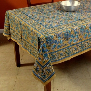 Floral Berry Block Print Tablecloth Rectangular Round Square Cotton Brown Table Linen
