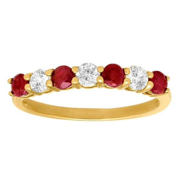 1 1/8 ct Ruby & White Sapphire Ring in 14K Gold - Red