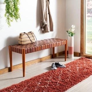 Link to Safavieh Amalia Bench -Cognac / Dark Brown Similar Items in Living Room Furniture