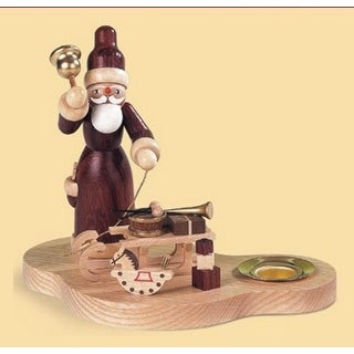 """4.75"""" Muller Wooden Santa with Sledge Carrying Gifts Christmas Table Top Candle Holder"""