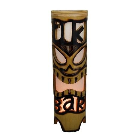 Tiki bar island style cylindrical bamboo cylindrical table lamp tiki bar island style cylindrical bamboo cylindrical table lamp brown free shipping today overstock 24035218 aloadofball Image collections