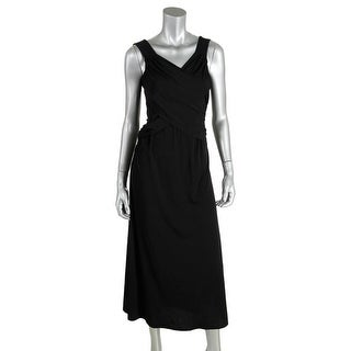 NY Collection Womens Petites Faux Wrap Drapey Cocktail Dress - pm