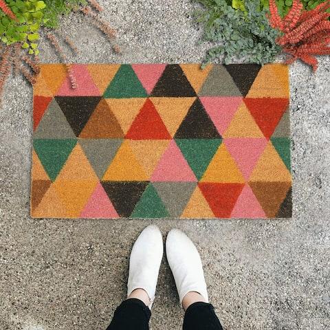 "GAURI KOHLI Natural Coir Doormat Multi Colored Checkers (30"" X 18"")"