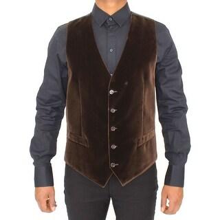 Dolce & Gabbana Dolce & Gabbana Brown Cotton Velvet Dress Vest Gilet - it52-xl