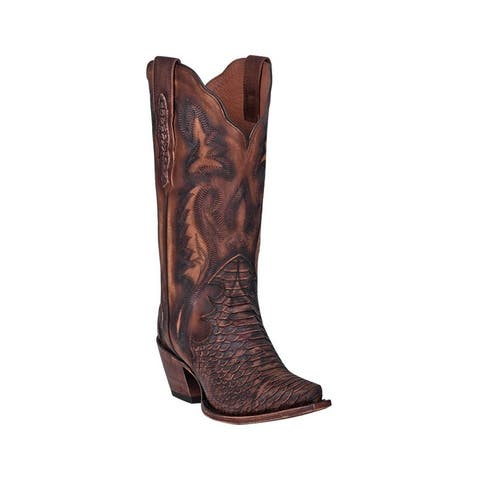 Dan Post Western Boots Womens Lauryn Python Print Brown