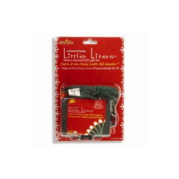 Set of 20 White LED Little Lites Micro Rice Christmas Lights - Green Wire