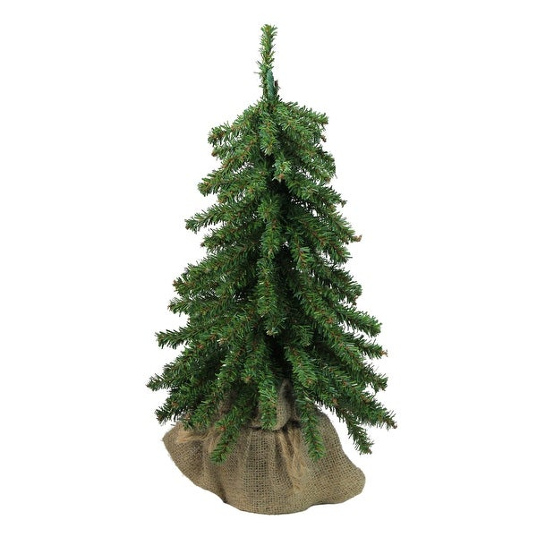 "15"" Downswept Mini Village Pine Artificial Christmas Tree in Burlap Base - Unlit - 1.5 Foot"