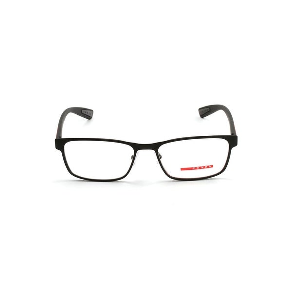 27ff1c589149 Shop Prada Rectangular Linea Rossa Eyeglasses In Black Rubber - Black Rubber  - One Size - Free Shipping Today - Overstock - 26301064