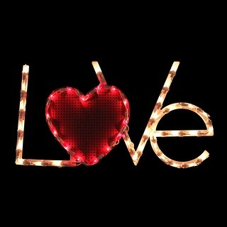 """17"""" Lighted Love Heart Valentine's Day Window Silhouette Decoration - Red"""