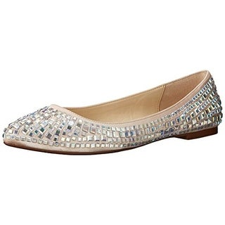 Betsey Johnson Womens Coco Flats Satin Embellished