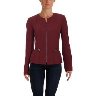 Tahari ASL Womens Collarless Blazer Peplum Zip Front