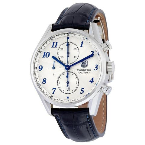 Tag Heuer Men's CAR2114.FC6292 'Carrera' Chronograph Blue Leather Watch - Silver