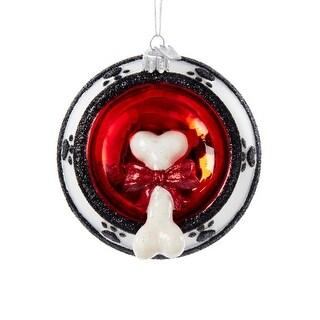 "4.25"" Noble Gems Dog Bone in Bowl Glass Christmas Ornament"