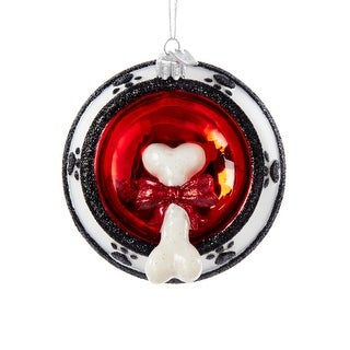 """Pack of 8 Noble Gems Glass Dog Bone in Bowl Christmas Ornaments 4.25"""""""