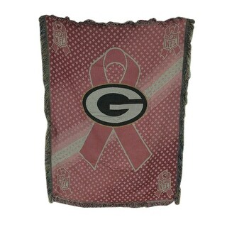 Green Bay Packers Breast Cancer Awareness Tapestry Throw Blanket 46 X 60 - Pink