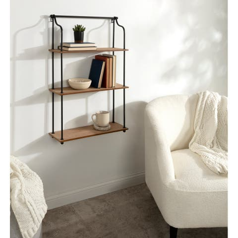 Kate and Laurel Walters Wood and Metal 3-Tier Shelving - 21x32