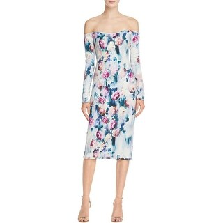 Black Halo Womens Vita Casual Dress Printed Off The Shoulder