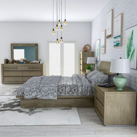Furniture of America Stur Transitional Walnut 6-piece Bedroom Set