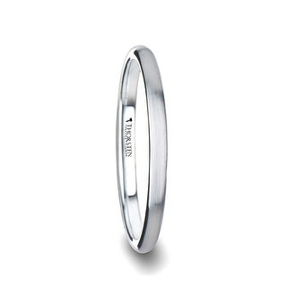 BRONWEN Domed White Tungsten Carbide Ring with Brushed Finish for Her - 2 mm