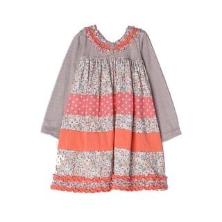 Isobella & Chloe Little Girls Taupe Tuscany Flower Pattern Ruffle Dress