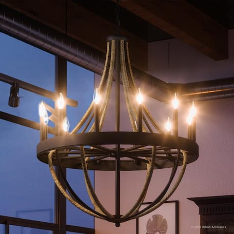 """Luxury Farmhouse Chandelier, 40""""H x 32""""W, with Braided Rope Style, Rope and Black Silk Finish by Urban Ambiance"""
