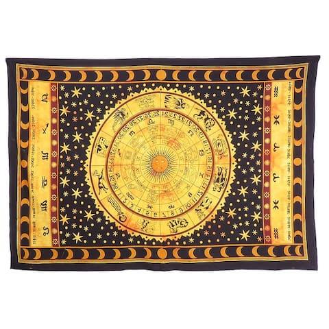 Oussum Zodiac Mandala Tapestry Yellow,Black,White Cotton Home Decorative Astrology Celtic Horoscope Tapestries 143x204 cm