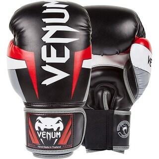 Venum Elite Hook and Loop Training Boxing Gloves - Black/Red/Gray