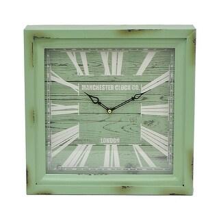 Three Hands Distressed Green Square Metal Wall Clock