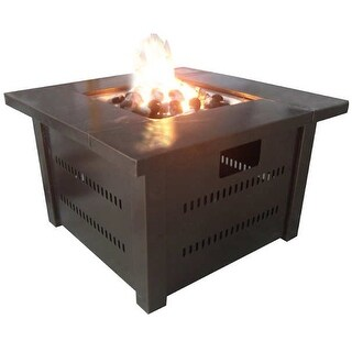 Hiland GS-F-PC Propane Outdoor Fire Pit - Hammered Bronze