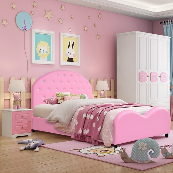shop costway kids children pu upholstered platform wooden princess bed - on sale - overstock