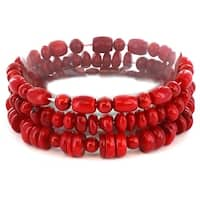 Red Dyed Coral Bar and Barrel Beaded Bracelet (Set of 3)