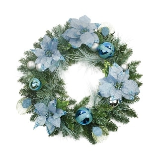 "24"" Pre-Decorated Peacock Blue and Silver Balls and Poinsettias Artificial Christmas Wreath - Unlit"