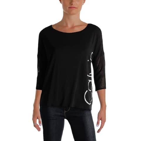 Calvin Klein Performance Women's Dolman Sleeve Top Black Reflective Size Extra Large - X-Large