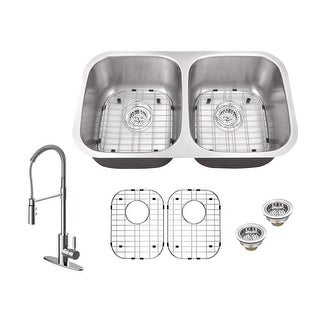 "Build Essentials DSS182918C/MK6557  29-1/8"" Undermount Double Basin Stainless Steel Kitchen Sink with Single Hole 1.8 GPM"