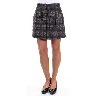 RACHEL ROY Womens New 1311 Gray Plaid Textured Button Up Mini Pencil Skirt 4 B+B