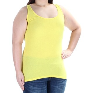 Womens Yellow Sleeveless Scoop Neck Top Size XL
