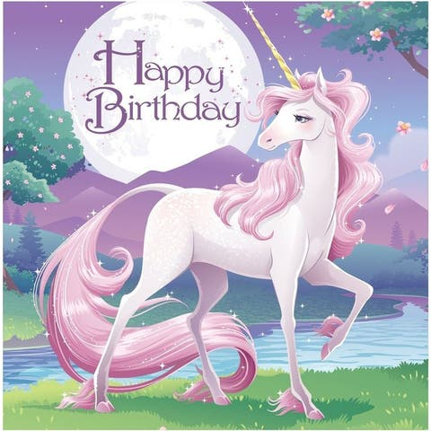 """Club Pack of 192 Unicorn Fantasy Princess """"Happy Birthday"""" Disposable Luncheon Napkins 6.5"""" - N/A"""