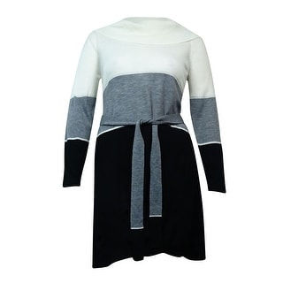 NY Collection Women's Belted Colorblocked Sweater Dress